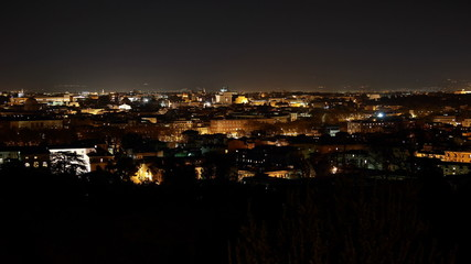 Night view of Rome from Janiculum Hill