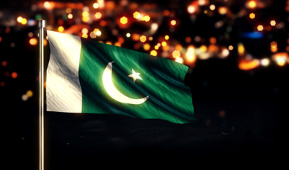 Pakistan National Flag City Light Night Bokeh Background 3D