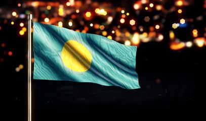 Palau National Flag City Light Night Bokeh Background 3D