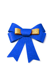 Gold and blue ribbon isolated on white, clipping path.