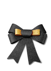 Gold and black ribbon isolated on white, clipping path.