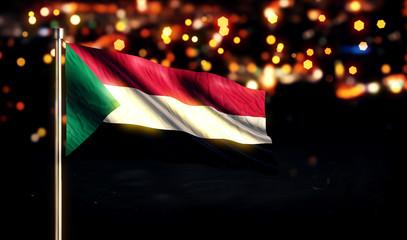 Sudan National Flag City Light Night Bokeh Background 3D