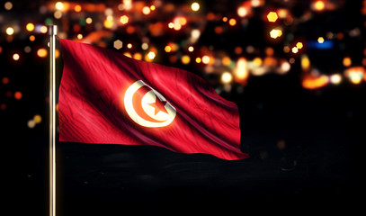 Tunisia National Flag City Light Night Bokeh Background 3D