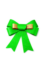 Gold and green ribbon isolated on white, clipping path.