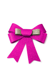 Pink and bronze ribbon isolated on white, clipping path.