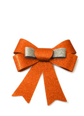 Orange and bronze ribbon isolated on white, clipping path.