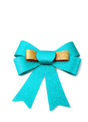 Gold and skyblue ribbon isolated on white, clipping path.