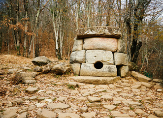 Ancient mystery stone dolmen in North Western Caucasus, Russia