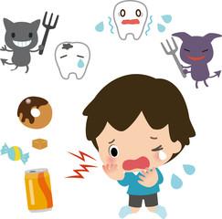 虫歯が痛くて泣く男の子と虫歯菌