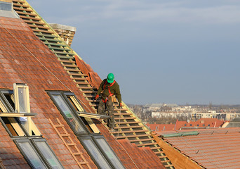 Man working on the roof