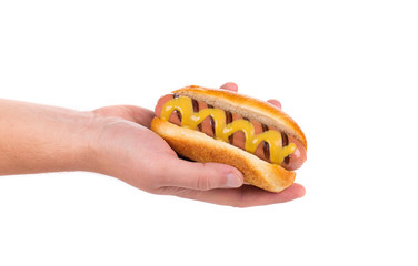 Hotdog with mustard