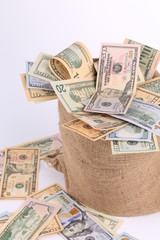 sack with dollar bills