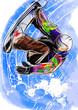 hand draw snowboarding - 73705901
