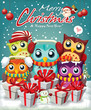 Vintage Christmas poster design with owls