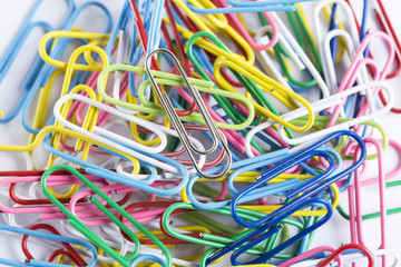 collection of paperclips in various colours