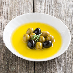 assorted olives in olive oil