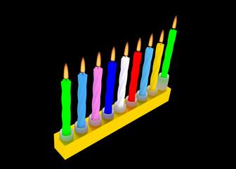 illustration of Jewish Menorah with colorful Hanuka candles