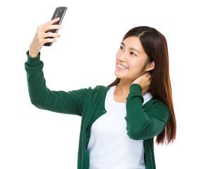 Asian woman take selfie
