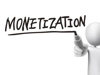 monetization word written by 3d man