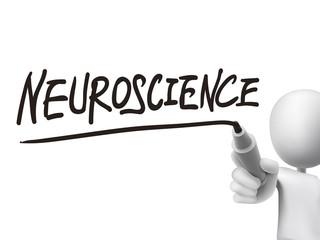 neuroscience word written by 3d man