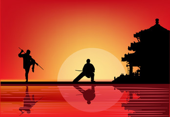 two fighting men near pagoda at sunset