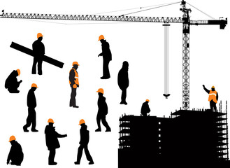 workers and house building isolated on white