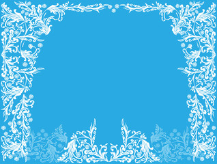 white frame from plant corners on blue