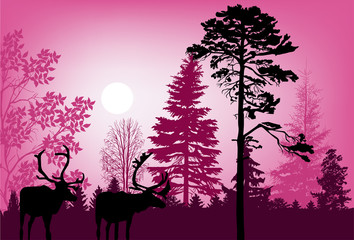 deers in pink forest illustration