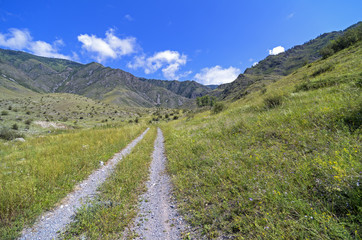 Country Road in Altai mountains.