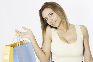 Blonde pretty woman shopping