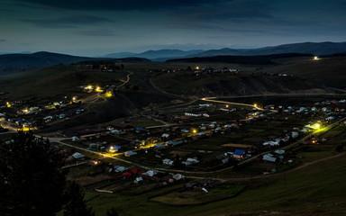 Bashkortostan. Top view of the night Kaga