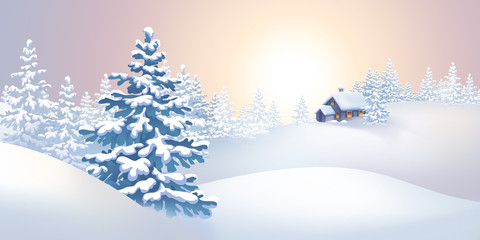 winter nature landscape panorama, holiday background