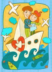 Влюбленные на корабле плывут в будущее