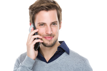 Man chat with mobile phone