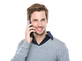 Man talk to mobile phone