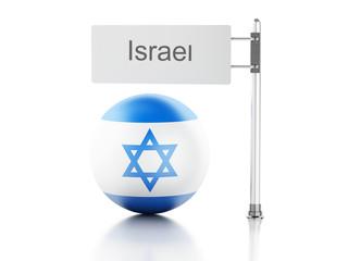 Israel flag and signpost. 3d renderer illustration.