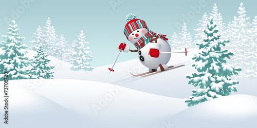 Papiers peints Glisse hiver Christmas snowman skiing downhill, winter sports