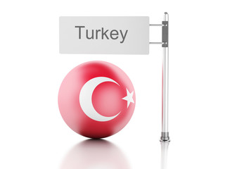 Turkey flag and signpost. 3d renderer illustration.