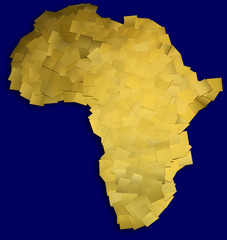 Map of Africa made of gold metal chips / with clipping path