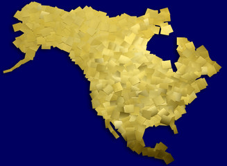 Map of  America made of gold metal chips / with clipping path