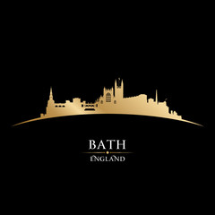 Bath England city skyline silhouette black background