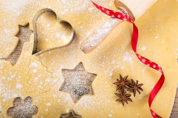 Christmas baking, cookies, rolling pin, red ribbon