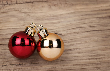 Christmas Balls Over Wooden Background.