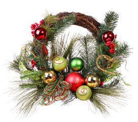 Christmas wreath with colorful balls isolated on white