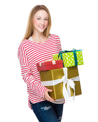 Woman hold with lots of present box
