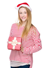 Christmas woman hold with red present box
