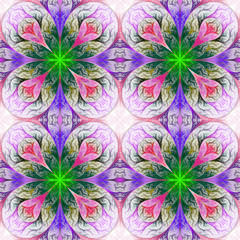 Pattern from four fractals  in pink, blue and green. Computer ge