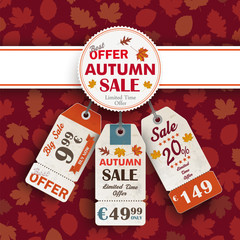 Autumn Foliage Emblem Banner Price Sticker
