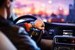 Driving a car at night -man driving his modern car at night