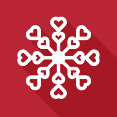 snowflake in flat style on red background. Vector illustration